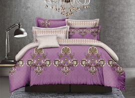 Vivilinen Exotic Style Purple Polyester 4-Piece Duvet Cover Sets