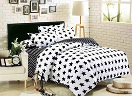 Vivilinen Black and White Stars Polyester 3-Piece Bedding Sets/Duvet Covers