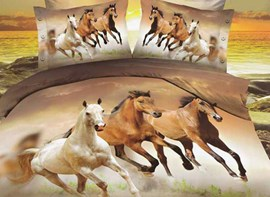 3D European Style Galloping Horse Reactive Print 4 Piece Polyester Bedding Set