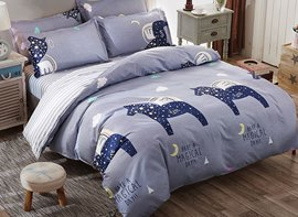 Vivilinen Dark Blue Starry Horse Prints Polyester 4-Piece Bedding Sets/Duvet Cover