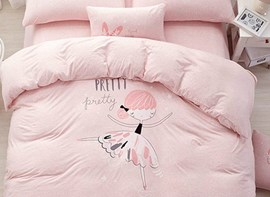 Vivilinen Adorable Pink Girl Pattern Cotton 4-Piece Duvet Cover Set