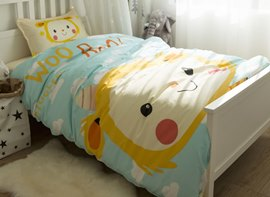 Vivilinen Cartoon Girl Printed Cotton 3-Piece Light Blue Duvet Covers/Bedding Sets