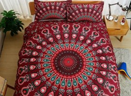 Vivilinen Peacock Mandala Print Red Polyester 3-Piece Bedding Sets