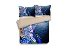 Vivilinen Magnificent Noble Peacock Print 4-Piece Polyester Duvet Cover Sets