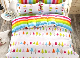 Vivilinen Rainbow Tree Print 4-Piece Reversible Cotton Kids Duvet Cover Sets