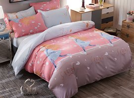 Vivilinen Pink Grey Contrast Blonde Girl Prints Polyester 4-Piece Bedding Sets/Duvet Cover