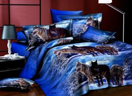 Group Wolves on Snow Print Polyester 4-Piece Bedding Sets/Duvet Covers