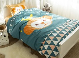 Vivilinen Monkey and Triangles Printed Cotton 3-Piece Blue Duvet Covers/Bedding Sets