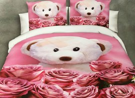 Vivilinen Bear Doll and Rose Print 4-Piece Polyester Duvet Cover