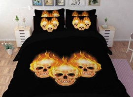 Vivilinen Skulls Printed Polyester 4-Piece Bedding Sets/Duvet Covers