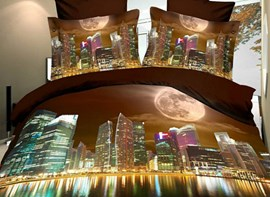 High Quality LALALAND City of Stars Modern City 4 Piece Polyester 3D Bedding Sets