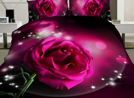Vivilinen Blingbling Shining Pink Rose Print 4-Piece Polyester Duvet Cover Sets