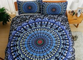 Vivilinen Ombre Mandala Blue Polyester 3-Piece Bedding Sets