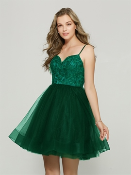 Ericdress A Line Spaghetti Straps Applique Backless Homecoming Dress