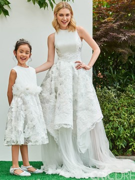 Ericdress Lace Jewel A Line Knee Length Appliques Flower Girl Dress