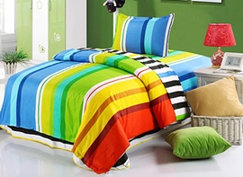 Vivilinen Colorful Stripes Pattern Kids 3-Piece Duvet Covers/Bedding Sets