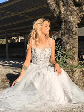Ericdress zarte eine Linie Applique Perlen Tüll Stock Länge Prom Dress
