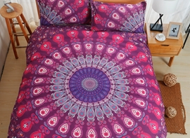 Vivilinen Mandala Purple Ombre Polyester 3-Piece Bedding Sets