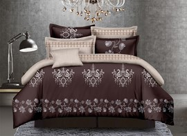 Vivilinen Arabesque Print Brown Polyester 4-Piece Duvet Cover Sets