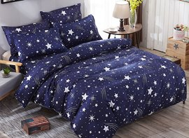 Vivilinen Dark Blue Starry Galaxy Prints Polyester 4-Piece Bedding Sets/Duvet Cover