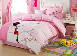 Vivilinen Girl and Rabbit Embroidered Kids Duvet Cover Set