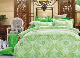 Vivilinen Green Paisley Flower Print 4-Piece Polyester Duvet Cover Sets