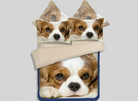Vivilinen Puppy 3D Printed 4-Piece Polyester Duvet Cover Sets