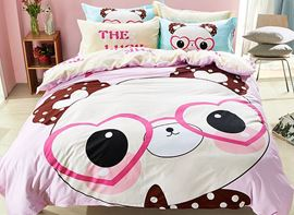 Vivilinen Panda Pattern Cotton Cute Style 4-Piece Pink Duvet Covers/Bedding Sets