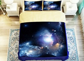 Vivilinen Bright Dreamlike Sparkle Shining Galaxy Print 4-Piece Polyester Duvet Cover Sets