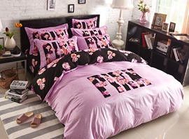 Vivilinen Pink and Black Pattern 4-Piece Coral Fleece Duvet Cover Sets