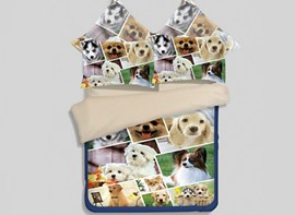 Vivilinen 3D Puppies Printed 4-Piece Polyester Duvet Cover Sets