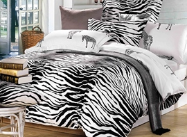Vivilinen Zebra Soft Cotton Simple Style 4-Piece Duvet Covers/Bedding Sets