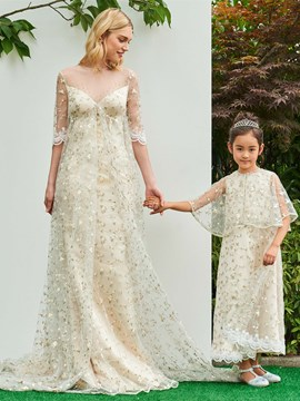 Ericdress A Line Half Sleeve Empire Lace Parent-Child Evening Dress