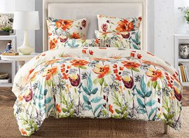 Vivilinen Watercolor Flowers Printed Polyester 3-Piece Bedding Sets/Duvet Cover
