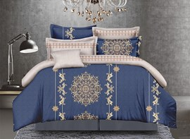 Vivilinen Arabesque and Medallion Print 4-Piece Polyester Duvet Cover Sets