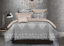 Vivilinen Jacobean Print Grey Polyester 4-Piece Duvet Cover Sets