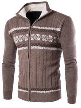 Ericdress Stand Collar Color Block Men's Cardigan Sweater