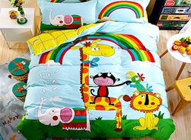 Vivilinen Animals and Rainbow Printed 4-Piece Duvet Covers/Bedding Sets