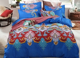 Vivilinen Boho Style Damask Print Blue Polyester 4-Piece Bedding Sets