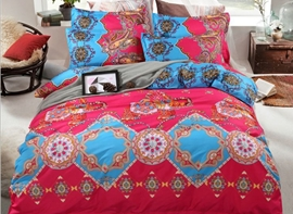 Vivilinen Ethnic Style Red Skincare Polyester 4-Piece Bedding Sets