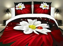 Vivilinen Ladybird on White Flowers Print Red 4-Piece Duvet Cover Sets