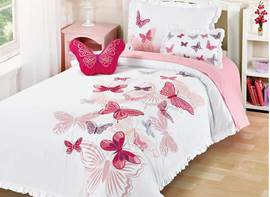 Vivilinen Butterflies Printed 3-Piece Cotton Pink Duvet Covers/Bedding Sets