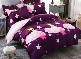 Vivilinen Pink Princess Prints Polyester 4-Piece Purple Bedding Sets/Duvet Cover