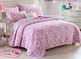 Vivilinen Dancing Girl Printed Cotton Queen Size 3-Piece Pink Bed in a Bag