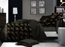 Vivilinen Black Design Polyester 4-Piece Duvet Cover Sets