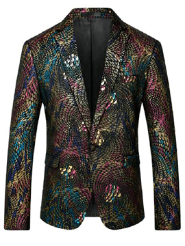 Ericdress One Button Notched Lapel Vogue Print Men's Blazer