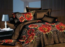 Vivilinen Exotic Style Flower Print Polyester 4-Piece Bedding Sets