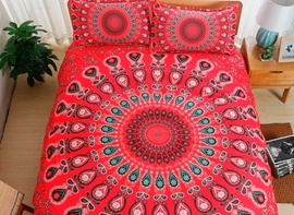 Vivilinen Moroccan Damask Medallion Print Red Polyester 3-Piece Bedding Sets
