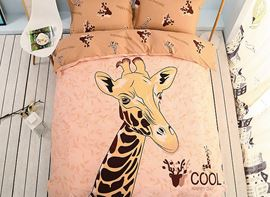 Vivilinen Cool Giraffe Pattern Kids Cotton 4-Piece Duvet Cover Sets