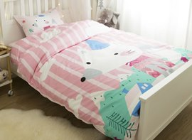 Vivilinen Mouse Printed Cotton 3-Piece Pink Duvet Covers/Bedding Sets